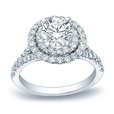 Auriya Platinum 1 1/4ct TDW Certified Double Halo Diamond Engagement Ring (H-I,