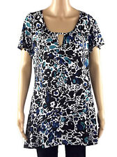 NEW MARINA KANEVA BLUE GREEN BLACK WHITE FLORAL PLUS SIZE TOP 16 18 20
