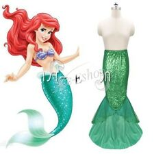 Sexy Mermaid Ladies Halloween Costume Fancy Party Sequins Long Dress Tail Skirt