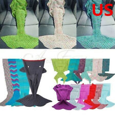 Women Hot Handcrafted Crochet Knit Mermaid Tail Blanket Kids Adults Sleeping Bag