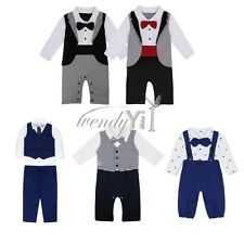 Baby Kids Boys Tie+Shirt Tops+Pants+Waistcoat Gentleman Suit Party Outfits Sets