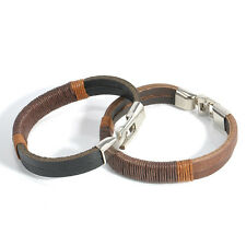 New Surfer Mens Retro Hemp Wrap Leather Wristband Bracelet Cuff Black Brown