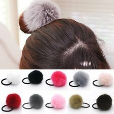 Fashion Artificial Rabbit Fur Ball Elastic Hair Ties Bands Rope Ponytail Holders