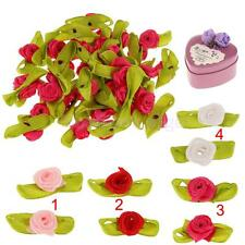 100xArtificial Ribbon Rose Flower Leaf Head Party Bridal Gift DIY Decor 4 Colors