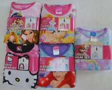 DISNEY PRINCESS Girls 6 8 PRINCESS HELLO KITTY MERMAID MICRO FLEECE PJ SET NEW