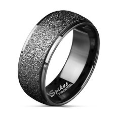 Stainless Steel Black Step Edge Sand-Blast Center Band Ring Size 9-13