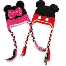 Baby Boy Girl Children Kid Knitted Winter Warm Mickey Minnie Ear Cartoon Cap Hat