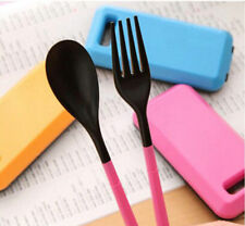 Portable for Travel Spoon Fork Chopsticks Plastic Cutlery Camping Tableware Set
