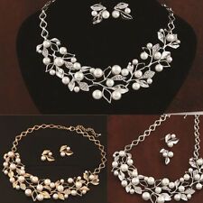 Set Jewelry Necklace Bridal Lady Silver Plated Women Earrings Pearl Gold Crystal
