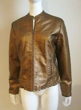NWT faux COPPER LEATHER JACKET zip up LINED COAT pockets Size M or L Baccini $74