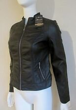 NWT BACCINI Faux LEATHER JACKET BLACK LINED COAT PETITE Sized ZIP UP Pockets