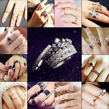 Women Girls Band Knuckle Midi Mid Finger Tip Stacking Ring Punk Nail Accessores