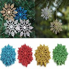 10cm New Glitter Snowflake Marry Christmas Ornament Xmas Tree Hanging Decoration