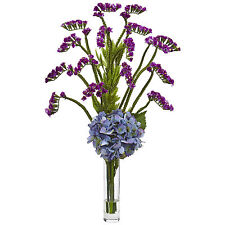 Nearly Natural Faux Hydrangea and Statice Bud Arrangement With Clear Glass Vase