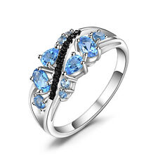 JewelryPalace  Natural Black Spinel Swiss Blue Topaz Ring 925 Sterling Silver