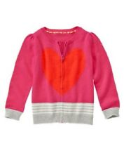 Gymboree Valentines Day Sweater 4 5 6 New Red Heart Pink Gray Cardigan Girl Twin