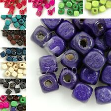 30g 300pcs Approx Wooden Wood Beads Cube Spacer Dyed Loose Beads 6x6mm DIY