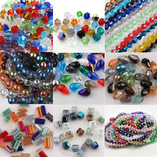 Mixed Crystal Glass Cube Bicone Teardrop Round Loose Spacer Beads Charm Finding