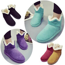 Pure Color Lady Women Faux Suede Bud Ankle Boots Winter Warm Snow Booties Shoes