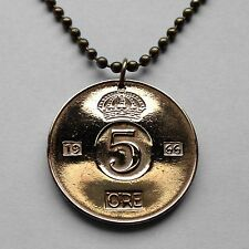 Sweden 5 ore coin pendant Swedish crown necklace scandinavian jewelry n000630