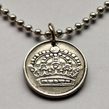 Sweden 25 ore silver coin pendant Swedish necklace crown scandinavian n001193