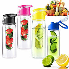 Durable Plastic Flip Lid Fruit Infusing Infuser Juice Water Bottle Sport 800ml