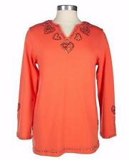 NEW QUACKER FACTORY Carrot Embellished Heart V-neck Top Plus Sizes 240666A-RM