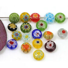 100pcs 6mm Mixed Millefiori Glass Flat Round Loose Spacer Beads Jewelry Making