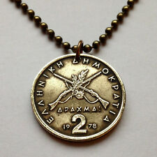 Greece 2 Drachmai coin pendant Greek necklace crossed rifles necklace  n000447