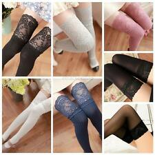Fashion Womens Knit Lace Over Knee Thigh Stockings High Socks Pantyhose Tights