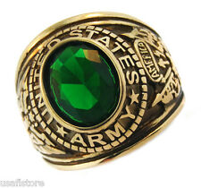 Army Emerald Green Stone US Military Gold EP Ring Size 13