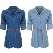 Ladies Adjustable Long Sleeve Denim Collar Belted Button Tunic Mini Shirt Dress