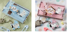 50 Blue or Pink Baby Carriage Key Chain Favors Baby Shower Favor Boy or Girl