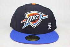 Oklahoma City Thunder #35 Kevin Durant / Black / Blue New Era 59Fifty Fitted Hat