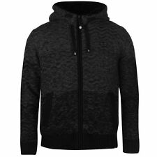 No Fear Mens Faux Fur Lined Knitted Cardigan Hoody Ribbed Hooded Full Zip Top