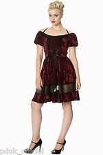 Banned Victorian Goth Velvet Claret Lace Mini Evening Corset Party Dress UK 8-16
