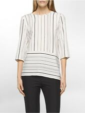 calvin klein womens striped angled roll-up top shirt