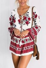 New Womens Summber Beach White Floral Print Long Sleeve Shorts Jumpsuit Playsuit
