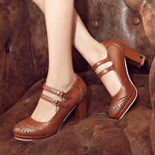 AU Sizes Block Synthetic Leather Shoes High Heel Mary Jane Lady's Heels s1021