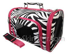 Zebra Pet Carrier Pink Trim Dog Cat Small Medium Animal Yorkie Airplane Mailbox