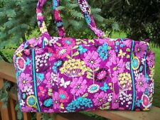VERA BRADLEY Large Duffel Travel Bag Flutterby Purple Butterflies