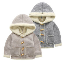 Baby Warm Fleece Hooded Coat Horn Button Outerwear Boys Girls Snowsuit Jacket