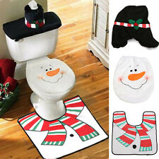 Happy Santa Snowman Toilet Seat Cover & Rug Bathroom Set Christmas Decorations