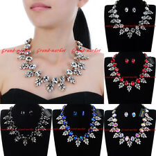 Fashion Jewelry Chain Glass Crystal Collar Choker Statement Pendant Bib Necklace