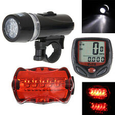 Bicycle Speedometer + 5 LED Mountain Bike Cycling Bicycle Head Light & Rear Lamp