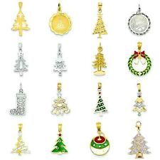 Sterling Silver & Gold Christmas Tree Charm Pendant Jewelry