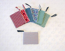 Preppy Nautical Handmade Sailboats Whales Fabric Coin Purse 7 Colors