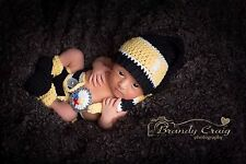 Pittsburgh Steelers Football Baby Crochet longtail hat, diaper cover, booties