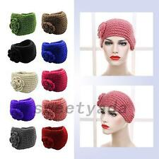 Women Ear Warmer Flower Headwrap Knitting Yarn Headband Knit Hairband Hair Band