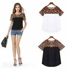 Vogue Womens Lady Short Sleeve Leopard Splice Crew Neck Chiffon Tops Blouses